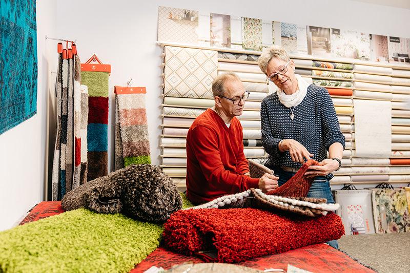 Auswahl an Teppichen und Teppichböden in unserem Geschäft am Rand von Bielefeld und nahe Werther
